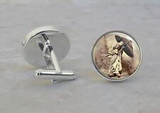 Japanese Geisha Vintage 925 Sterling Silver Cuff Links