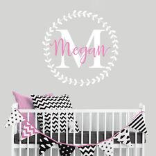 Nursery Monogram Initial Name Custom Logo Girls Bedroom Wall Decal Sticker Vinyl