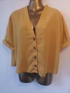 Blouse 12 Yellow Crepe New Look V Neck Summer Cool Waist length summer