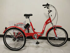 """Electric tricycle, 24"""" wheels, folding frame, 6-speed - RED, 250w, 12.8Ah"""