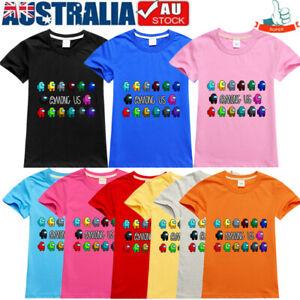 Among Us Game T-shirts Imposter Crewmate Gaming Kids Boys Girls Cotton Tee Tops