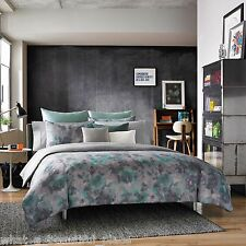 3-Pc Kenneth Cole Shadow Floral King Comforter Set Abstract Aqua Blue Plum Gray