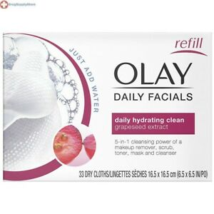 Olay 2-in-1 Daily Hydrating Clean 33 Count Water Activated Facial Cloths Refills