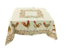 Jacquard Woven Tablecloth Country Farm Chickens & Flowers 57X57 Made In France