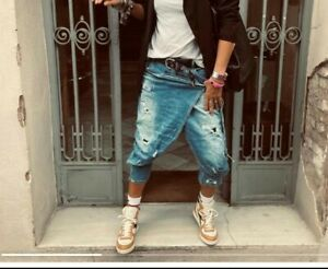 mega coole Damen Baggy Jeans Harems Hose Überwurf Löcher Lagen Look XS S M L XL