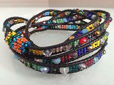 Czech GLASS Bead MULTI-COLOR Wrap Bracelet Cuff Bangle Shamballa Guatemala