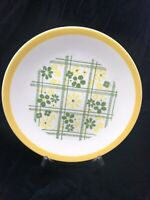 Vintage Homer Laughlin 1974 Green Yellow Daisy Plaid Salad Plates
