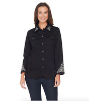 Quacker Factory Scroll Embellished Woven Jacket - Black - Large