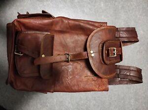 Echtlederrucksack braun Schulrucksack, Studententasche Ausflüge groß