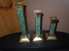 3 PC SET DECORATIVE CRAFTS INC BRASS AND GREEN LACQUERED MARBLE CANDLE HOLDERS
