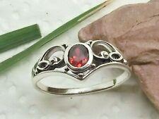 Tiara 925 Sterling Silber Ring Zirkonia Rot Herz Ring Diadem Damenring
