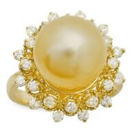 Splendid Natural South Sea Pearl and Diamond 14K Solid Yellow Gold Ring