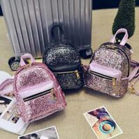 Fashion Women PU Leather Girls Bling Backpack Mini Small Bag Sequins Schoolbags