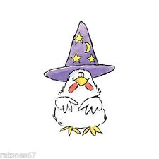 New Penny Black FEATHERED WITCH Wood Rubber Stamp Halloween Chicken Hat Stars