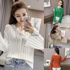 Korean Women Causal Knit Loose Hollow Flare Long Sleeve Solid Blouse Top Khaki L