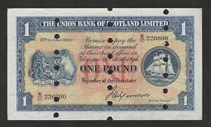 Union Bank Of Scotland £1 1 Pound 1949 AU-UNC Printers Proof SPECIMEN Banknote