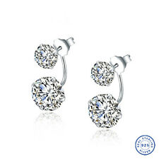 925 Sterling Silver earring CZ Cubic Zirconia clear crystal DLE27