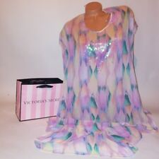 Victoria Secret Swim Cover Up XS Colorful Sequined Side Slit Long