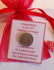 Ruby Wedding Anniversary Lucky Sixpence Gift - 40th
