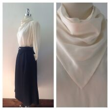 Vintage 100% Silk Blouse 1970s Waterfall Neck Ivory Levanté Top Size 6