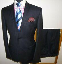 Men's Ted Baker Suit Black Stripe 40 R Wool Jacket Trousers Waist 34 Leg 31