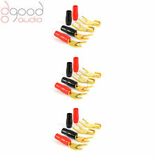 12 x USA Gold Plated SPADE Speaker Cable Connector for Audio, Hi-Fi, Amplifier
