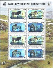Mongolia 2000 WWF/Horses/Nature/Wildlife/Conservation/Hologram 8v sht (b6548f)