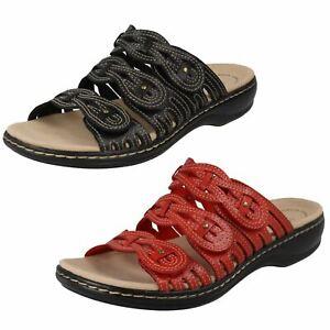 Ladies Clarks Open Toe Casual Slip On Leather Mule Sandals Leisa Faye