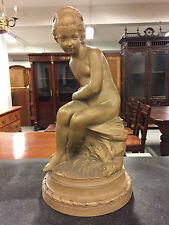Sculpture terre-cuite jeune fille à l'arc dans le goût de Falconet