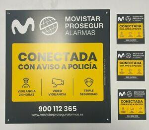 Placa alarma disuasoria Grande + 3X Pegatinas Movistar Prosegur