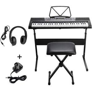 Musical Keyboard Electronic Digital Piano Set 61 Key Adults Kids With Stand Mic