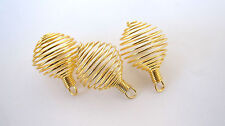 *THREE* Coil GOLDTONE Spiral Cages 25mm B034 QTY3 Jewelry Charm Pendant