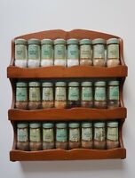 Vintage Wood Herbs & Spices Wall Mount Rack with 24 Schilling Bottle Jars