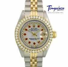 Rolex Watch Lady Datejust 69173 Gold & Steel White MOP Dial with Ruby