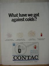 1965 Contac Anti Cold Medicine Vintage Print Ad 10578