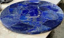 Round Marble Coffee Table Top Lapis Stone Inlay Art Handmade Hallway Decor H4752