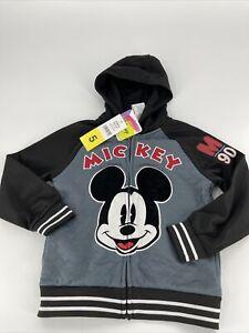 Disney Boy's Mickey Mouse Black & Gray Hoodie Full Zip Jacket Size 5 NWT #90