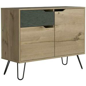 Bleached Pine Effect Melamine Finish 2 Door 1 Drawer Small Sideboard Storage