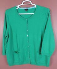 SC000582-TALBOTS Womens Pima Cotton Cardigan Sweater 3/4 Sleeve Pocket Green 3XP