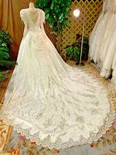 FABULOUS  WHITE SATIN  WEDDING DRESS PEARL DANGLES LACE BRIDAL GOWN SIZE S-M