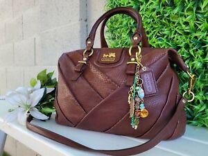 Coach 21319 diagonal leather madison juliette exotic satchel purse handbag EUC