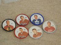 Lot of 6 1960-61 Shirriff NHL Hockey Coins Bobby Hull Montreal Toronto Detroit