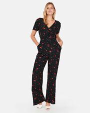 Express Cherries Print Twist Front Jumpsuit, Black, Rayon, Size L, NWT