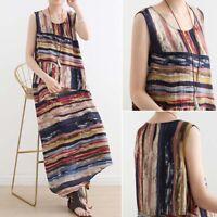 ZANZEA Women Summer Long Maxi Sundress Kaftan A-Line Flare Printed Stripe Dress