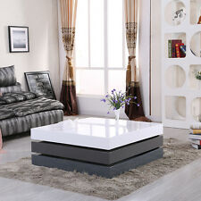 Stylish 3 Layer High Gloss White Grey Rotating Square Storage Coffee Table