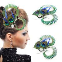 Vintage Peacock Feather Fascinator Weddings Racing Party Hair Headpiece Bridal