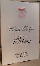 10 Handmade Personalised Wedding Table Menu Booklets Cards Vintage Motif Ribbon