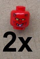 Lego 2x roter Kopf Teufel für Minifigur Gesicht 3626bpb389 head Devil Neu New