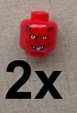 Lego 2x rojo cabeza diablo para cara minifigura 3626bpb389 Head Devil nuevo New