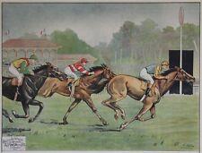 """""""COURSE DE CHEVAUX AU GALOP"""" Affiche originale entoilée Litho E. HELSEY 82x63cm"""